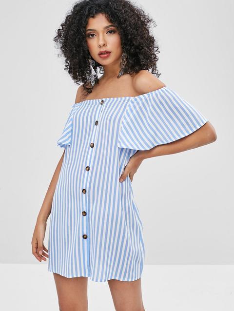 Zaful Button Up Stripes Off Shoulder Dress