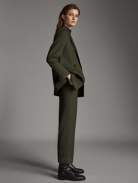 Pantalón Traje 100% Lana Straight Fit de Massimo  Dutti en 21 Buttons