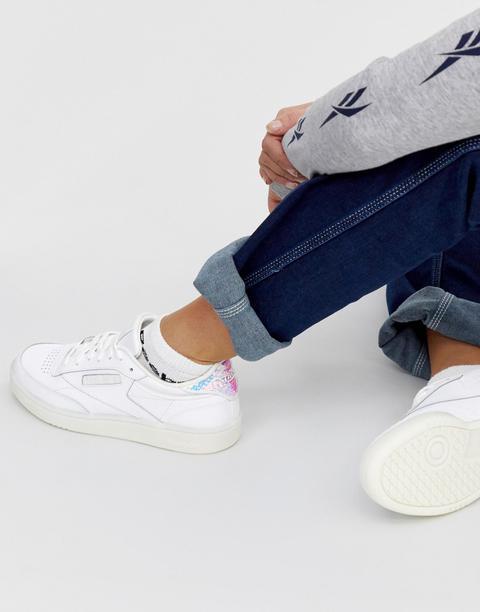Reebok Club C 85 Sneakers Bianche Con Tallone Iridescente Bianco di ASOS su 21 Buttons