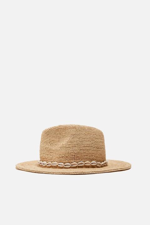 Sombrero Rafia Conchas