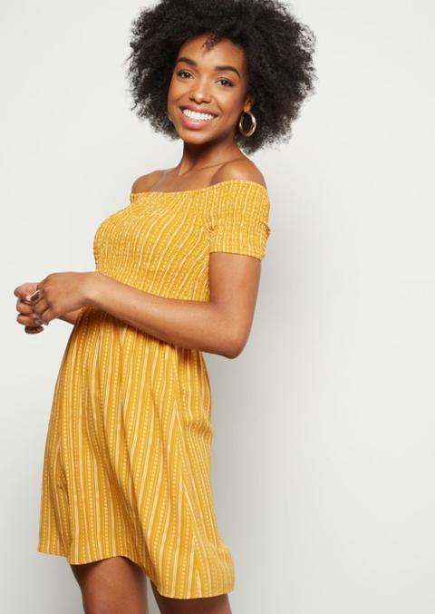 Mustard Striped Smocked Off The Shoulder Mini Dress