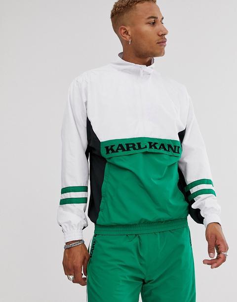 Cortavientos En Verde/blanco Con Cremallera Corta Retro De Karl Kani de ASOS en 21 Buttons