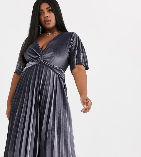 Vestido Midi Estilo Kimono Plisado Con Detalle Retorcido De Terciopelo De Asos Design Curve-plateado