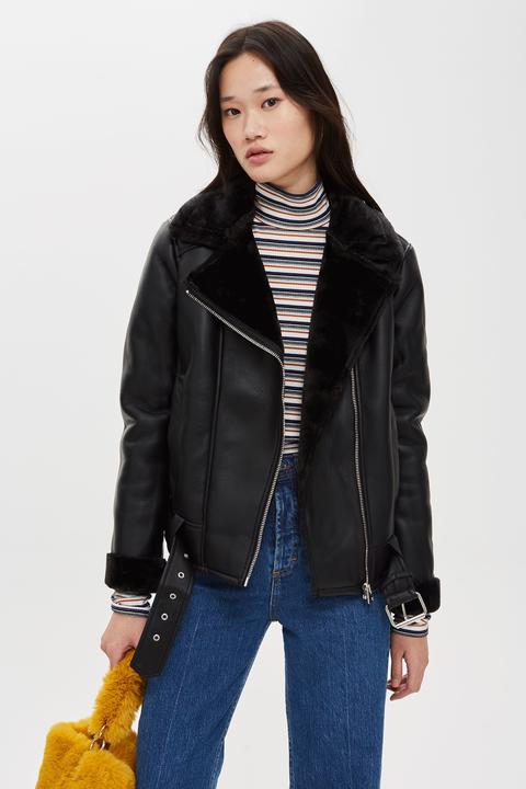 Womens Biker Jacket - Black, Black