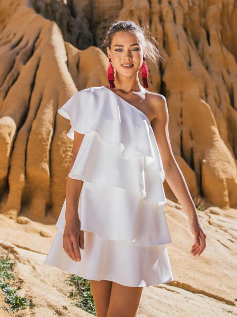 Vestido Mini Blanco Volantes