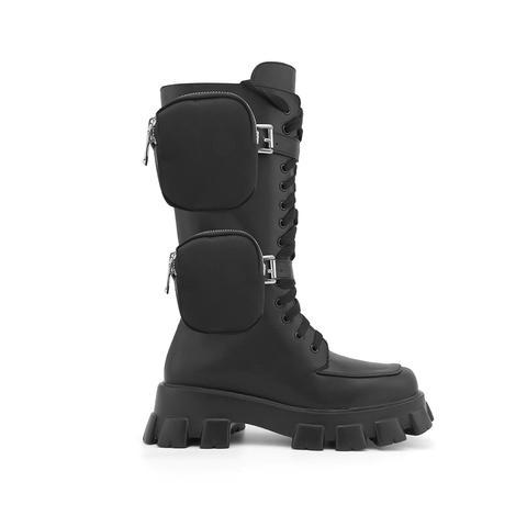 Niova Leather Platform Utility Biker Boots With Pockets