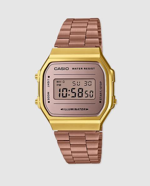 Casio - Reloj De Mujer De Collection A168wecm-5ef Mirror Face Vintage De Acero de El Corte Ingles en 21 Buttons