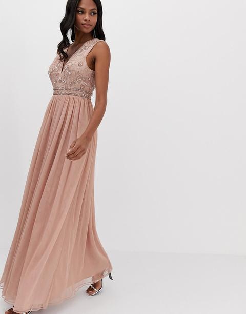 Vestido Largo Con Corpiño Adornado Y Falda De Tul De Asos Design-rosa