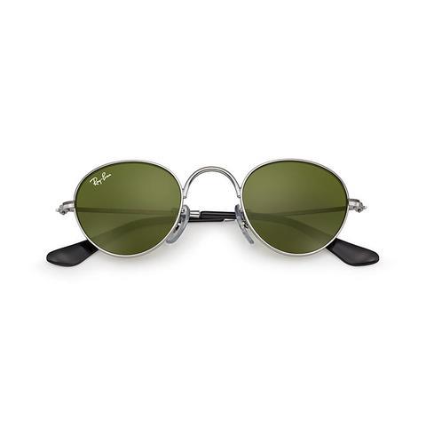 Round Junior Unisex Sunglasses Lentes: Verde, Montura: Gunmetal