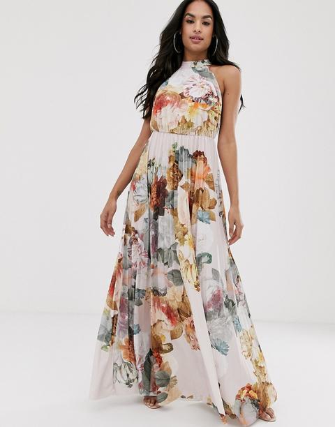 Vestido Largo Con Estampado Floral Y Cuello Halter Con Cintura Plisada De Asos Design-multicolor