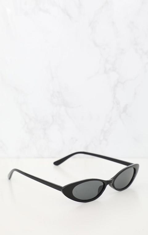 Black Matte Thin Retro Sunglasses