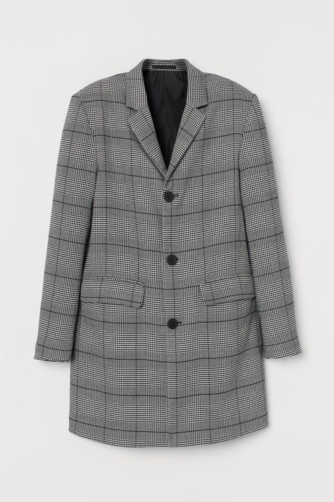 Abrigo De Cuadros - Negro de H&M en 21 Buttons