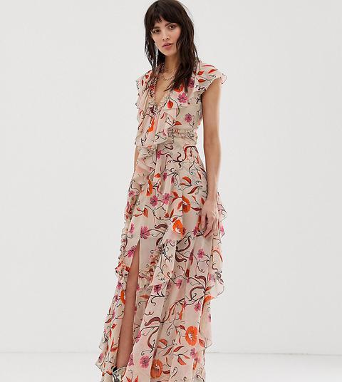 Vestido Largo Con Detalle De Volantes Y Diseño Floral Vintage De Dusty Daze de ASOS en 21 Buttons