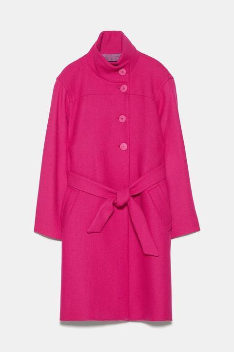 Cappotto Con Collo Alto E Cintura from Zara on 21 Buttons