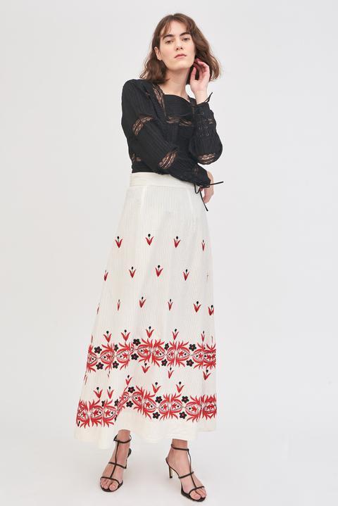 Falda Larga Mexi Bordada - Crema - Antik Batik de Antik batik en 21 Buttons