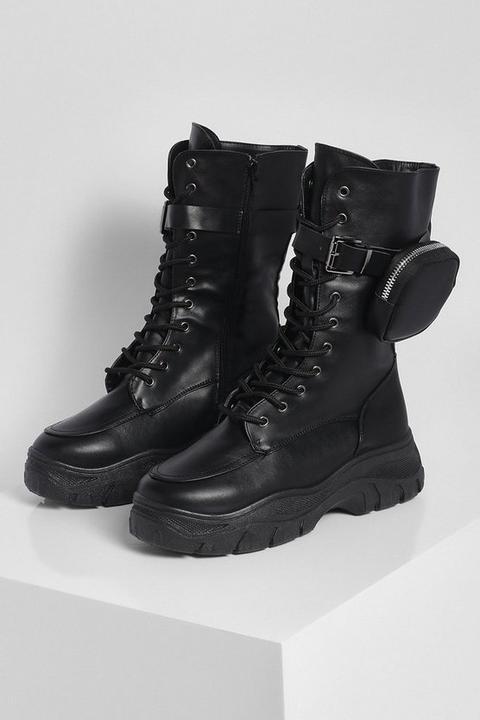 Pouch Detail Calf High Chunky Hiker Boot - Noir - 36, Noir