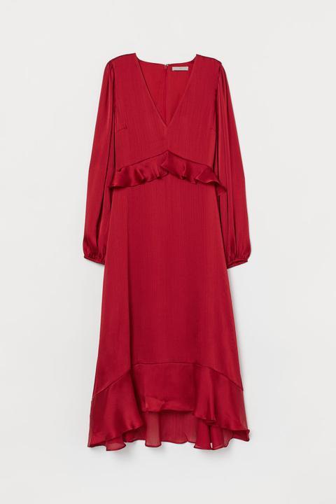 Vestido Con Volantes - Rojo de H&M en 21 Buttons