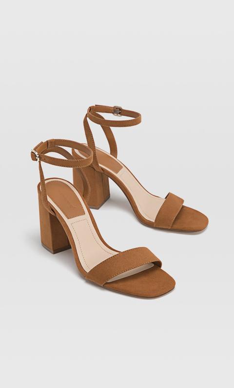 nueva especiales mejor calidad zapatos de separación Sandalias Tacón Ancho Marrón de Stradivarius en 21 Buttons
