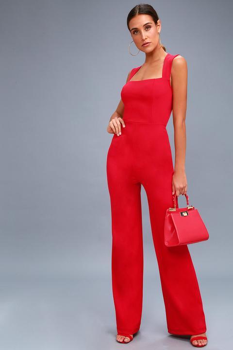 Enticing Endeavors Red Jumpsuit - Lulus de Lulus en 21 Buttons