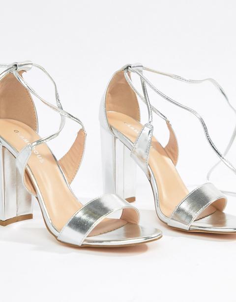 Glamorous Silver Ankle Tie Block Heeled