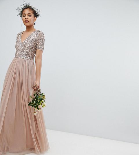 Vestido Largo De Tul De Dama De Honor Con Cuello En V Con Lentejuelas Delicadas De Maya Tall de ASOS en 21 Buttons
