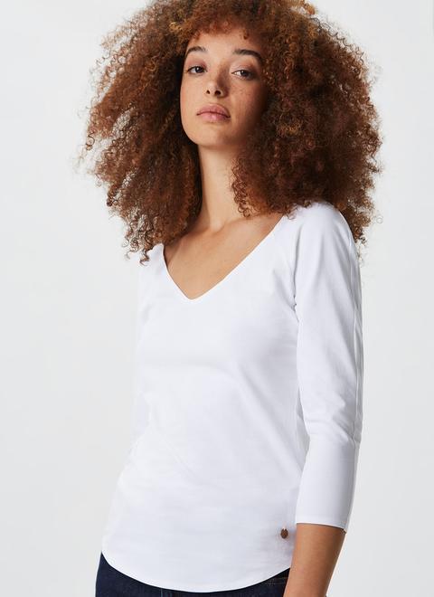 Camiseta Básica De Algodón Elástico de Adolfo Dominguez en 21 Buttons