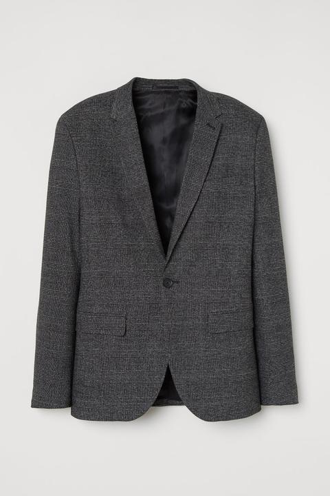 Americana A Cuadros Skinny Fit - Negro de H&M en 21 Buttons