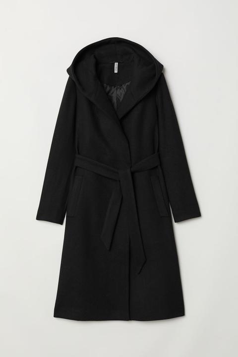 Abrigo En Mezcla De Lana - Negro de H&M en 21 Buttons