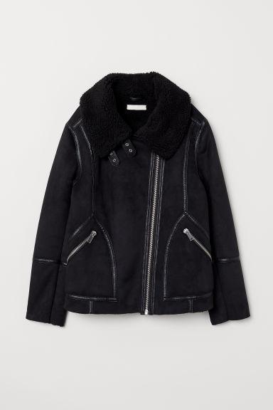 Cazadora Motera Con Peluche - Negro de H&M en 21 Buttons