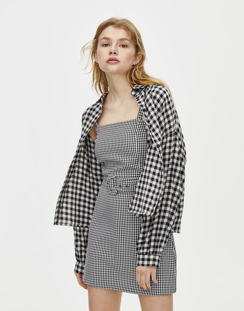 H & M - Vestido oversize con volantes hm marrón Recto