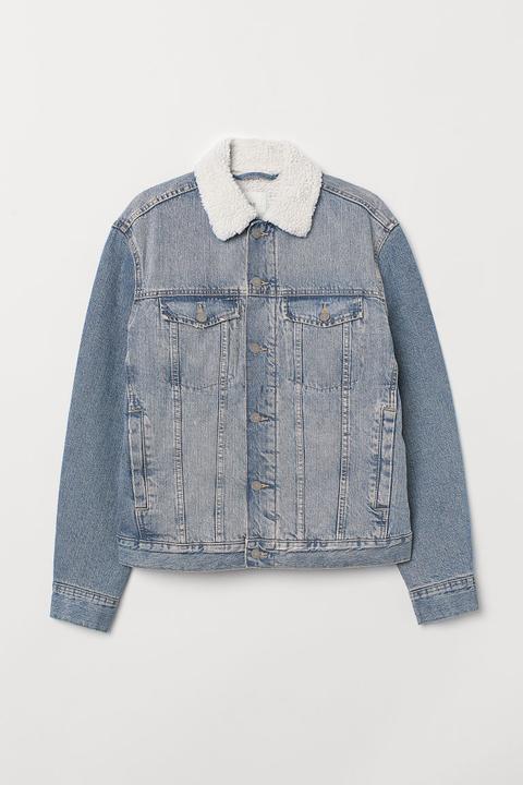 Cazadora Vaquera Con Peluche - Azul de H&M en 21 Buttons