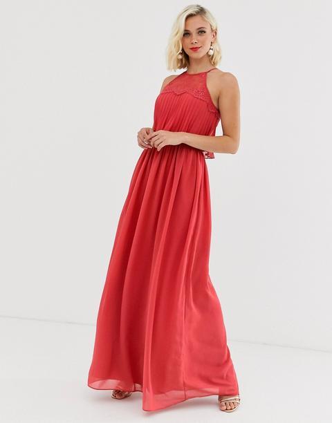 Vestido Largo Con Cuello Halter En Rojo En Llamas De Chi Chi London de ASOS en 21 Buttons