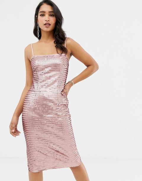 Vestido Midi Estilo Camisola Con Diseño De Lentejuelas En Rosa De Forever New