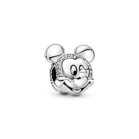 Clip En Plata De Ley Retrato Brillante De Mickey de Pandora en 21 Buttons