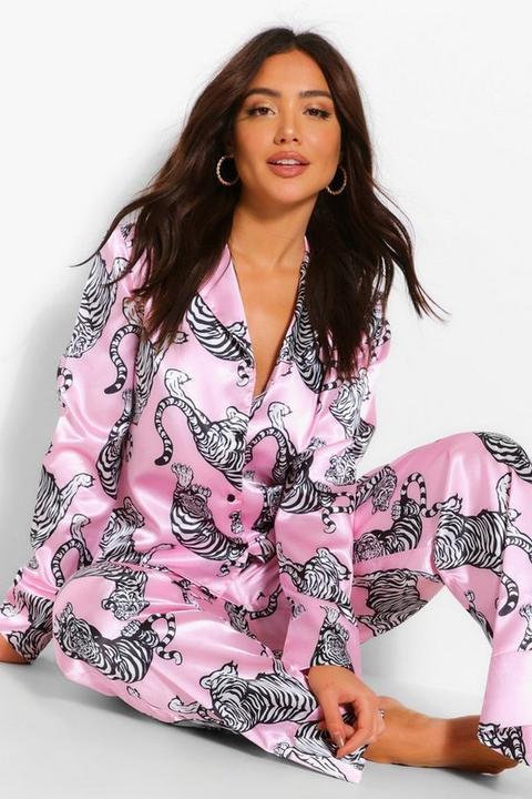 Pantalon De Pyjama En Satin À Imprimé Tigre - Rose - 34, Rose