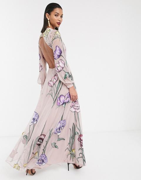 Vestido Largo Con Bordados Florales Extragrandes Y Abertura En La Espalda De Asos Edition-rosa