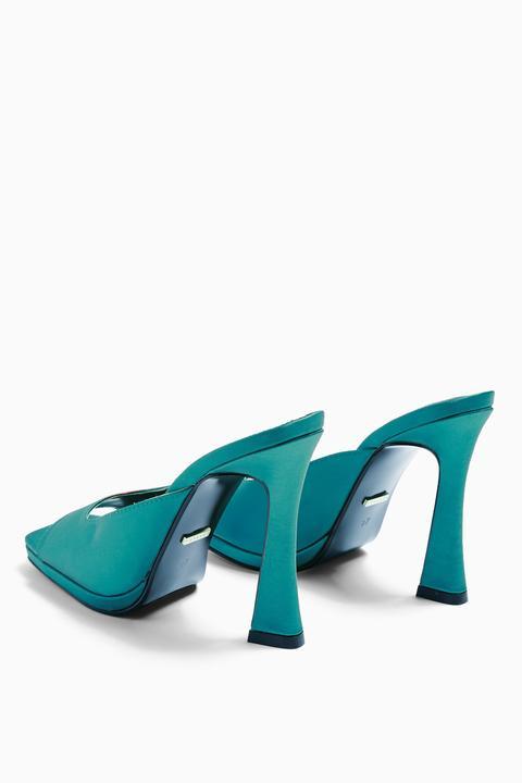 Womens Razzle Green Satin Mules - Emerald, Emerald