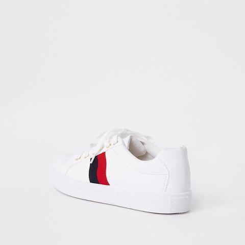 White Stripe Side Lace Up Plimsolls