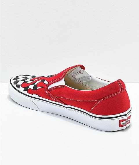 Vans Slip-on Checkerboard Flame Red