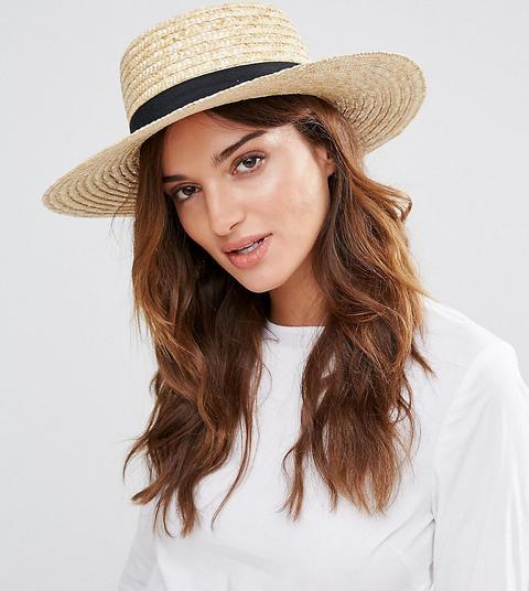 Sombrero Canotié De Paja Con Banda Negra De South Beach