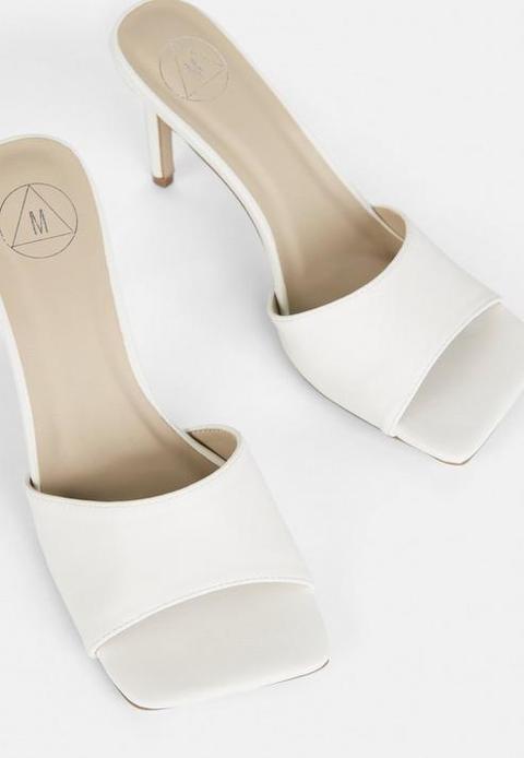 White Square Toe Mid Heel Mules, White