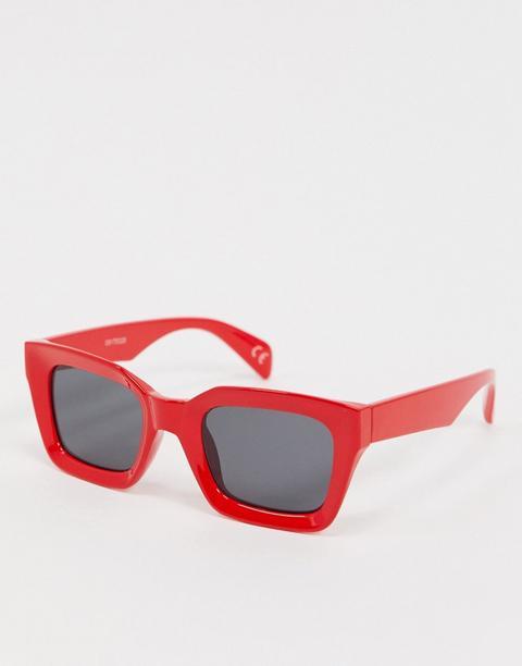 Gafas De Sol Cuadradas Biseladas En Rojo De Asos Design