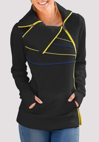 Schwarz Gestreifte Reißverschluss Taschen Umlegekragen Langarm Pullover Sweatshirt Damen Mode from Cichic on 21 Buttons