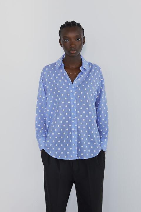 lo mas barato ventas al por mayor precio bajo Camisa Lunares Bordados de Zara en 21 Buttons