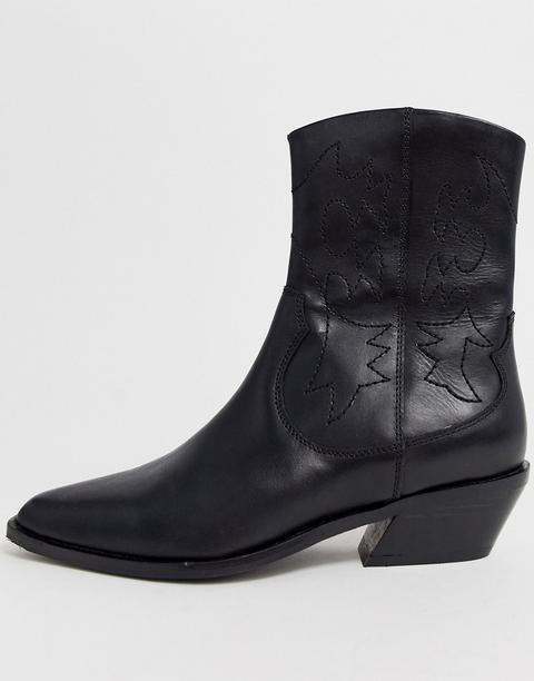 Botas De Estilo Cowboy De Cuero Negro Autumnal De Asos Design