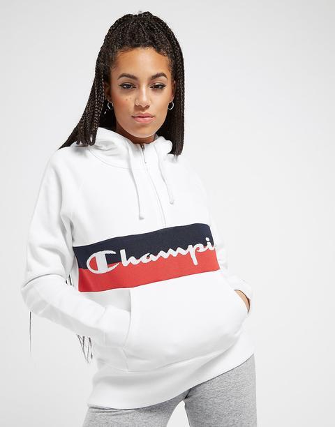 Champion Logo Stripe 1/4 Zip Hoodie, Blanco de Jd Sports en 21 Buttons