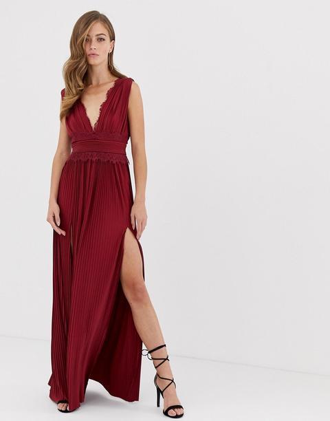 Vestido Largo Y Plisado Con Aplicación De Encaje Premium De Asos Design-rojo