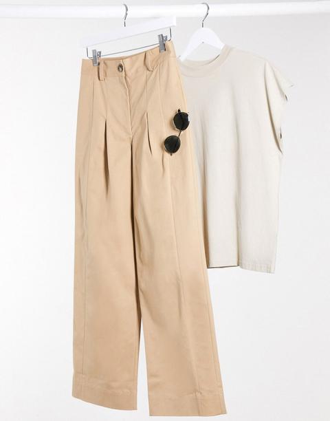 Na-kd - Pantalon Large En Coton Mélangé - Beige-neutral