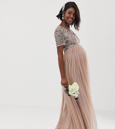Vestido Largo De Tul De Dama De Honor Con Cuello De Pico Y Delicadas Lentejuelas A Tono En Rubor Topo De Maya Maternity-marrón