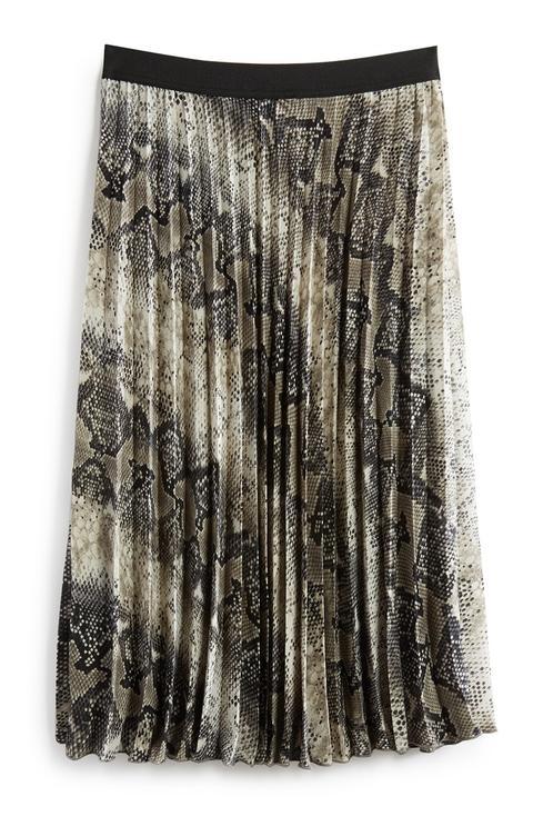 Grey Snake Print Midi Skirt
